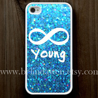iPhone 4 Case, iphone 4s case, Forever young iphone 4 case, infinity iphone 4 case, blue sparkle iphone 4case