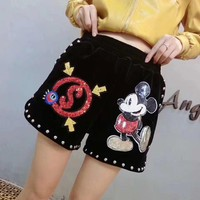 Disney Mickey Mouse Cartoon Sequin Embroidery Fashion Rivet Casual Women Shorts