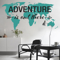 Adventure is Out There - World Map Decal - Large World Map Vinyl Wall Sticker - World Map Wall Sticker