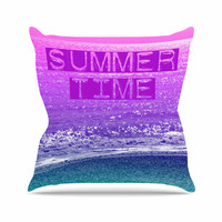 """Alison Coxon """"Summer Time"""" Pink Typography Throw Pillow"""
