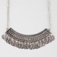 Full Tilt Coin Statement Necklace Antique Silver One Size For Women 26499958201