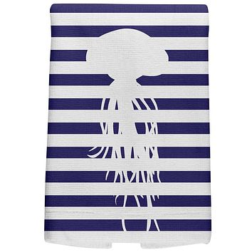 Jellyfish Nautical Stripes All Over Hand Towel