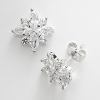 Silver Plate Cubic Zirconia Snowflake Stud Earrings (White)