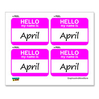April Hello My Name Is - Sheet of 4 Stickers