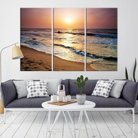 73510 - Waves Reflecting Golden Sunlight at Sunrise Wall Art Canvas Print