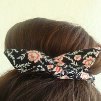 """Wire Bun Wrap, Top Knot Wire Wrap Black with Red Roses Flowers """"Mini"""" Dolly Bow Wire Headband Ponytail Hair tie Hair Bun Tie Wrap"""