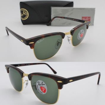 Ray-Ban Authentic Clubmaster 3016 990/58 Havana / Frame Green Polarized 49mm