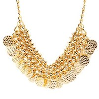 Gold Chain, Bead & Coin Collar Necklace by Charlotte Russe