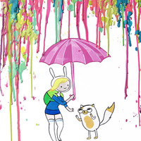 Adventure Time Art Print  - Fionna and Cake - Pastel - Teens - Crayon Art - Melted