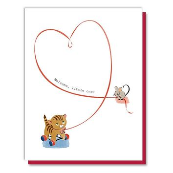Mouse with Cat Toy Baby Card
