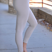 Fleece Lined Leggings- Cream