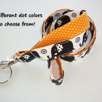 Lanyard  ID Badge Holder - Lobster clasp and key ring - design your own - black elephants -  gold pin dots - two toned double sided