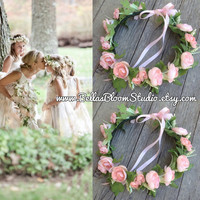Blush Flower Crown - Blush Flower Girl Crown, Newborn flower crown, Baby flower crown, baby headpiece,newborn headband,newborn photo prop