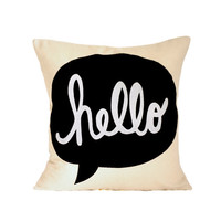 Pillow Cover hello // 16x16 Pillow Cover by michelledwight on Etsy
