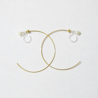 Large 35mm Hoop Earring |D15G| Gold plate clip on hoop earring wedding clip on earring bridal clip on earring non pierced earring
