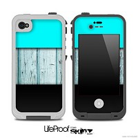 Three-Toned Turquoise Aged Wood Skin for the iPhone 5 or 4/4s LifeProof Case