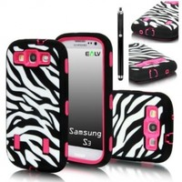 S3 Case, Galaxy S3 - E LV Galaxy S3 Case Cover Hybrid Defender Armor Shock-Absorption for Samsung Galaxy S3 i9300 with 1 Screen Protector, 1 Black Stylus and E LV Microfiber Sticker Digital Cleaner - Zebra Hot Pink)