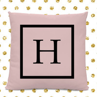 Initial Pillow - Letter Pillow - Pillow with Letter H - Monogrammed Pillow - Custom Throw Pillow - Pink Letter Pillow