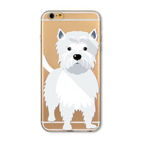 Apple iPhone case for 5 se 5s 6 6s clear soft TPU case. Dog case Westie