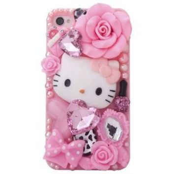 MinisDesign Dream Garden Series 3D Bling Luxury Design Rhinestone Pink Hello Kitty Diamond iPhone case for Apple iPhone 4 / 4S (Fits: At&t, Sprint, Verizon, Package includes: 1 X Screen Protector and Extra Rhinestones)