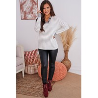 Lost Control Striped Long Sleeve Top (Ivory/Heather Grey)