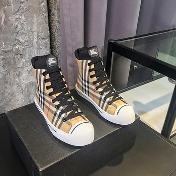 BURBERRY2021 Trending Women's men Leather Side Zip Lace-up Ankle Boots Shoes High Boots09100gh