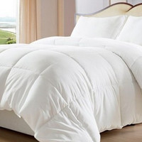 Reversible Solid & Striped-Down Alternative Comforter with Corner Tabs