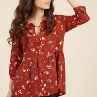Creative Career Conference Button-Up Top in Ginger Garden | Mod Retro Vintage Short Sleeve Shirts | ModCloth.com