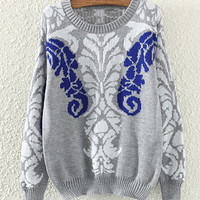 Grey Totem Pattern Knitted Sweater