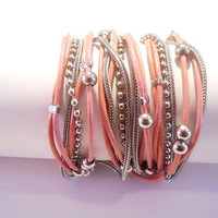Antique pink round leather & nickel chains and beads, 3X wrap bracelet