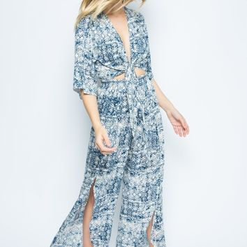 Ill Take You There. Flower Print Open Jumpsuit