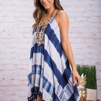 Focus On Fringe Dress, Indigo