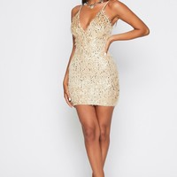 Champagne Papi Fuzzy Sequin Bodycon Mini Dress
