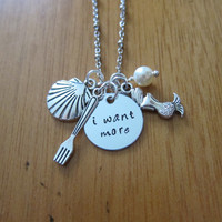 """Ariel Inspired Little Mermaid Necklace. """"I want more"""". Silver Colored, Hand Stamped, Swarovski Pearl, for women or girls. FREE shipping."""