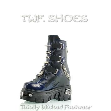 """WTF Dreamz Punk Goth 2.5"""" Platform Ankle Boots Blue Flame Patch Chains Studs Anthony Wang"""