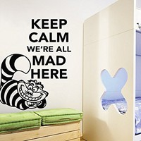 Wall Decals Quotes Alice in Wonderland Vinyl Sticker Decal Quote Keep Calm We're All Mad Here Nursery Bedroom Decor C621