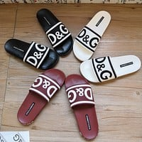 DOLCE & GABBANA D & G New Products Hot Couple Love Letter Casual Slippers