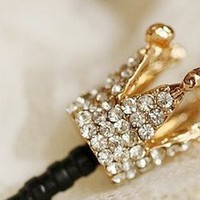 Gorgeous Golden Crown Style Anti-Dust Earphone Jack For iPhone/iPad