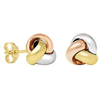 14K Tri-tone White Yellow and Rose Gold Love Knot Stud Earrings