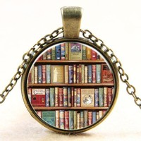 Literary Books Glass Necklace