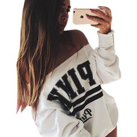 Off Shoulder Letter Print White Loose Blouse Full Sleeve Casual Women Summer Autumn Top 2016 New Fall Fashion Blouses