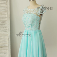 Mint Blue Chiffon Lace Bridesmaid Dress Prom Dress Cap Sleeves Deep V Back Knee Length Short Dress for Wedding