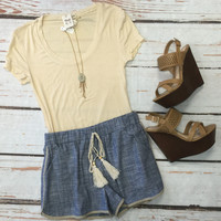 Chambray Tassel Shorts