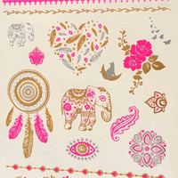 Temporary Tattoo Pink Gold Elephant Flower Unique Metallic