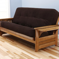 Rosemount Full Size Sofa Futon and Drawer Set, Honey Oak Wood Frame and Viva Fibers Tufted Innerspring Mattress, Chocolate