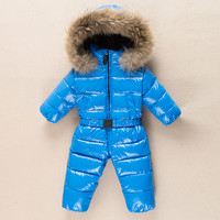 Russia jumpsuit Baby Snowsuit Children's winter Overalls Natural Fur Coat Baby Down 90 Baby Romper Suit Snow Wear Baby clothes