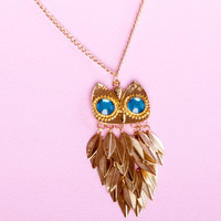 Large Owl Necklace  Long Owl Necklace Vintage Style Owl Pendant with Swarovski Crystals