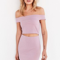 Silence + Noise Off-The-Shoulder Slashed Ponte Mini Dress | Urban Outfitters