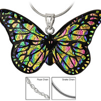 Dichroic Glass Rainbow Butterfly Necklace
