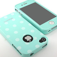 New Premier Mint polka dot face Gel case cover+color screen for iPhone 4 4S 4G